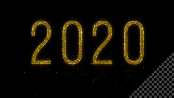 Thumbnail for Year 2020 - Shiny Golden Glitter Text with Transparency - HD