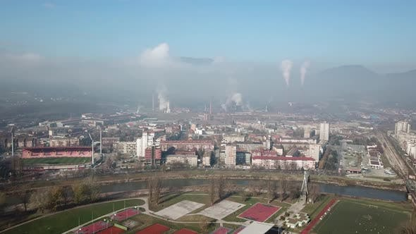Thumbnail for Aerial Shot Of The Factory And Chimney In The City