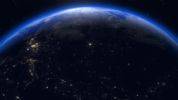 Thumbnail for Planet earth from space, sunrise world skyline