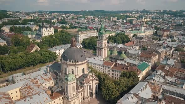 Thumbnail for Aerial Drone Video of City Lviv, Ukraine. Ancient Ukraine Dominican Church. Panorama of Old Town