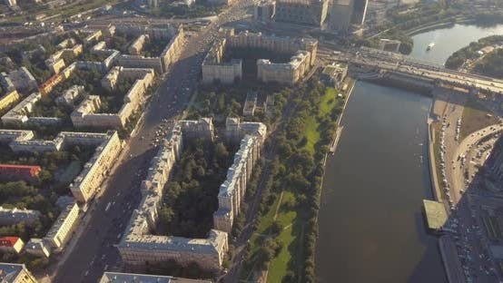 Thumbnail for Aerial View of Moscow International Business Center at Sunrise When Sun Is Behind Clouds. Moscow