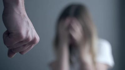 Husband Threatens Fist Wife. Domestic Violence