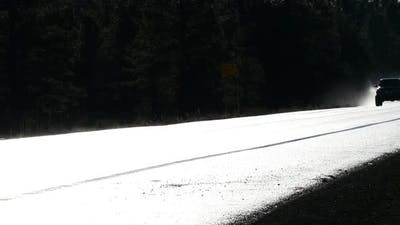 Pickup Truck on Wet Highway