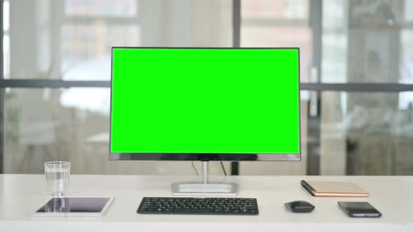 Thumbnail for Close Up of Desktop with Green Chroma Key Screen