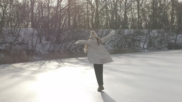 Thumbnail for Winter Woman Having Fun Outdoors on Nature