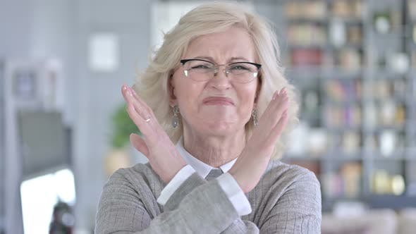 Thumbnail for Portrait of Old Woman Saying No with Hand Gesture