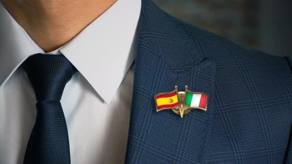 Cover Image for Businessman Friend Flags Pin Spain Italy