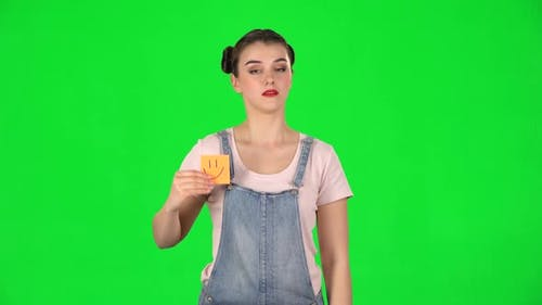 Girl Holding Paper Stick Expressing Awful Mood Then Takes Another Expressing Good Mood