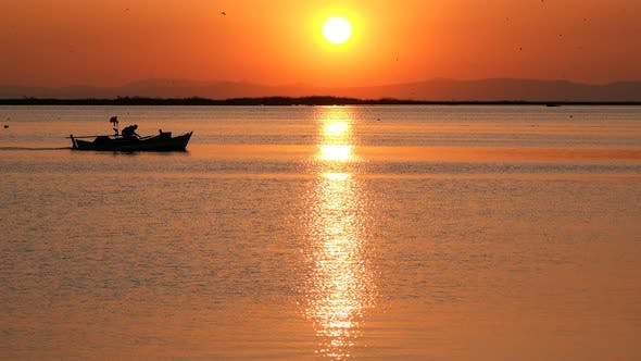Thumbnail for Sunset And Fishing Boat In Calm Sea 4