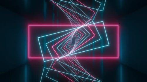 Schleifendrehung leuchtender Rechteck-Linien im dunklen Tunnel