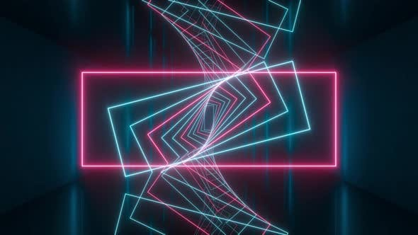 Thumbnail for Loop rotation of glowing rectangle lines in the dark tunnel