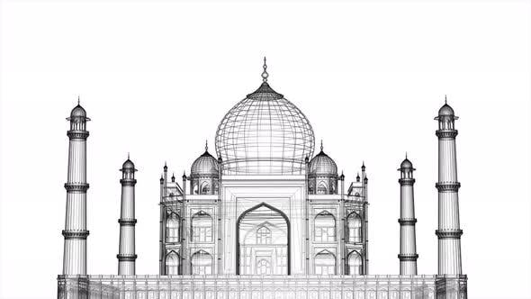 Thumbnail for Taj Mahal Blueprint Wireframe Seamless Loop