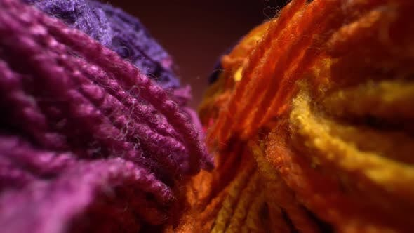 Super Macro Shot of Colored Woolen Threads for Knitting. Rainbow Winter Background. Dolly Close Up