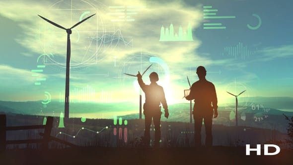 Thumbnail for Silhouettes Of Engineers Against The Backdrop Of The Sunset And Wind Farms HD