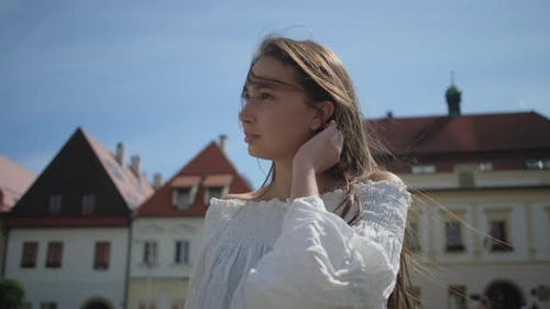 Sightseeing Tour of European City Woman is Viewing Old Architecture