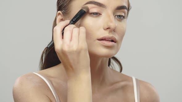 Thumbnail for Pretty Girl Applying Eyeshadows with Brush
