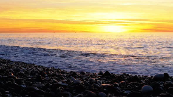 Thumbnail for Beautiful Sunset Over the Sea Near the Rocky Shore