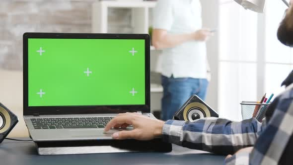 Green Screen Laptop in Bright and Well Lit Living Space