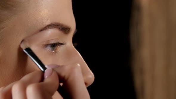 Cover Image for Applying Eyebrow Brush. Makeup. Black. Closeup
