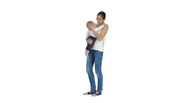 Thumbnail for Young Mother Trying to Calm Down Infant Son on White Background