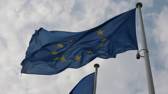 Cover Image for The European Union Flag Fluttering Proudly in the Air on a Sunny Day in Spring