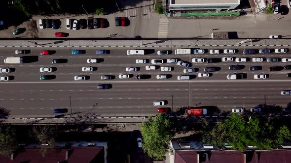 Thumbnail for Drone's Eye View Birds Eye View of Urban Traffic Jam
