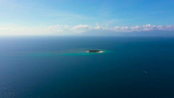 Thumbnail for Island with a Beach, Top View. Rosa Island. Seascape with a Small Island.