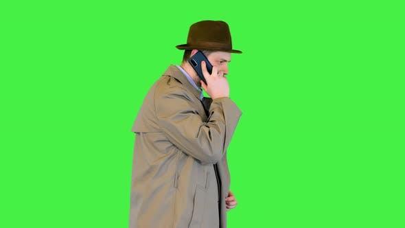 Professional Officer Investigator Make Mobile Phone Call Vintage Detective Confident Walk Talking on