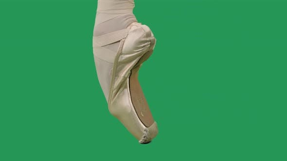 Pointe Shoes Professional Ballet Shoes on Green Screen