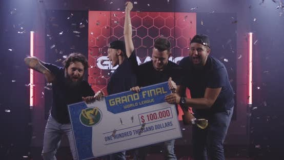 Thumbnail for Gaming Tournament Team Celebrating Their Victory