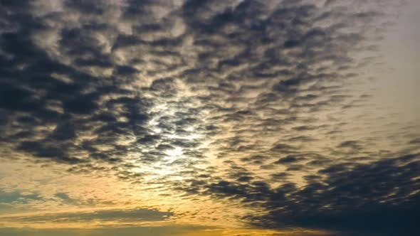 Majestic Amazing Time Lapse of Cumulus Clouds Moves in the Sky at Sunset
