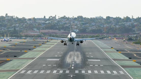 Thumbnail for The View of an Airplane Arriving at San Diego International Airport. USA