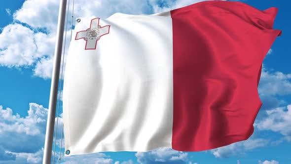 Thumbnail for Fliegende Flagge von Malta auf dem Hintergrund des Himmels