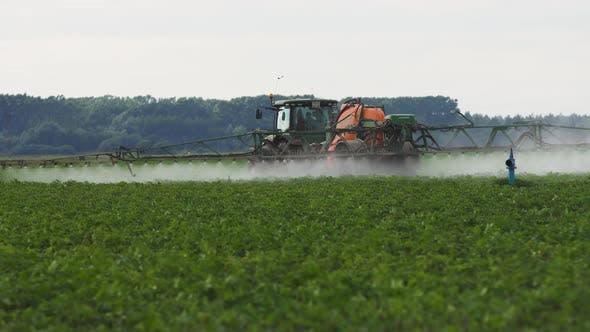 Tractor Is Spraying Fertilizers Field.