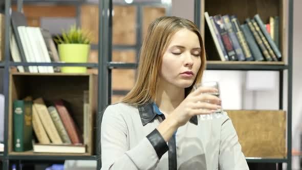 Drinking Water, Woman, Indoor