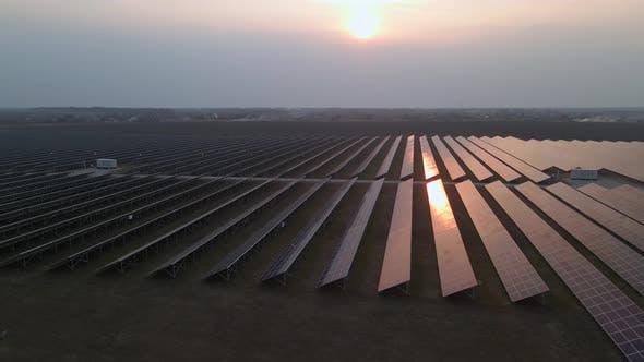 Drone Fly Over Solar Farm