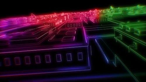 Retrofuturistic neon smartcity landscape