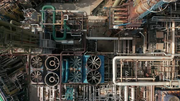 Thumbnail for Aerial Top Down View Over Oil Refinery or Chemical Factory.