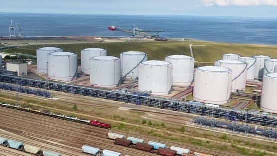 Oil Refinery on the Seashore