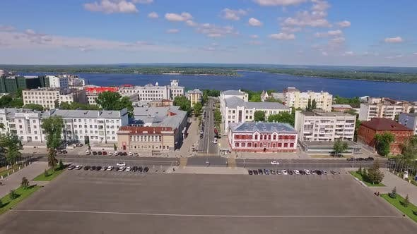 Large City Square and Roads to Volga River in Samara City Aerial View