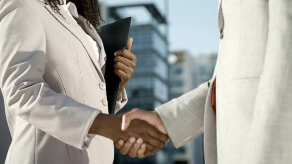 Thumbnail for Woman with Folder Shaking Hands with Colleague