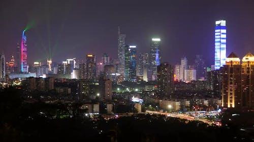 Timelapse Shenzhen with Illumination and Flashing Lasers