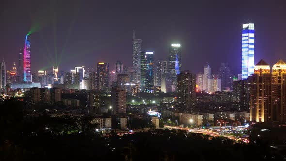 Thumbnail for Timelapse Shenzhen with Illumination and Flashing Lasers