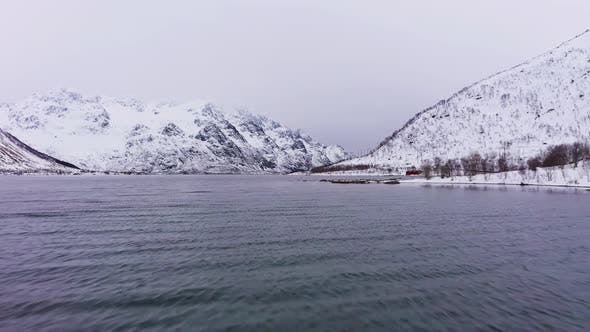 Thumbnail for Laupstadosen Fjord and Mountains in Winter, Lofoten Islands, Norway, Aerial View