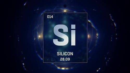 Silicon As Element 14 Of The Periodic Table On Blue Background
