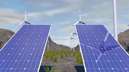 Solar Energy 4K - Solar Panel And Wind Turbine