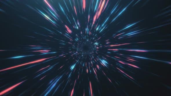 Thumbnail for Abstrakter Flug im Retro Neon Hyper Warp Space im Tunnel