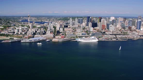 Thumbnail for Seattle Waterfront Skyline Aerial Of Big Cruise Ship