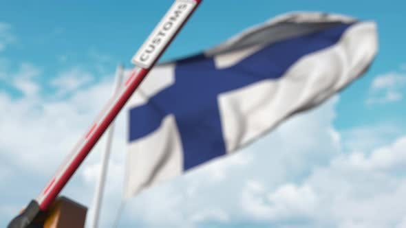 Thumbnail for Closing Boom Barrier with CUSTOMS Sign at the Finnish Flag