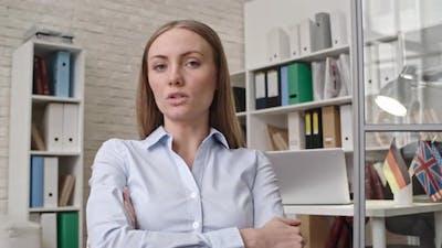 Businesswoman Holding Online Meeting